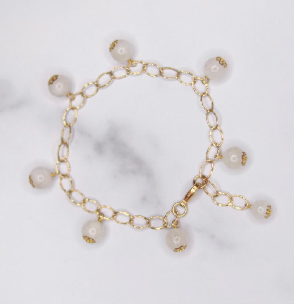 Round Moonstone Multi Drop Gold-Filled Bracelet  NEW