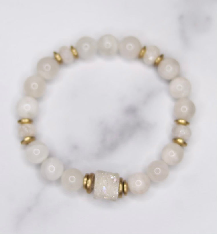 Round Moonstone, White Druzy and Gold Disc Stretch Bracelet  NEW