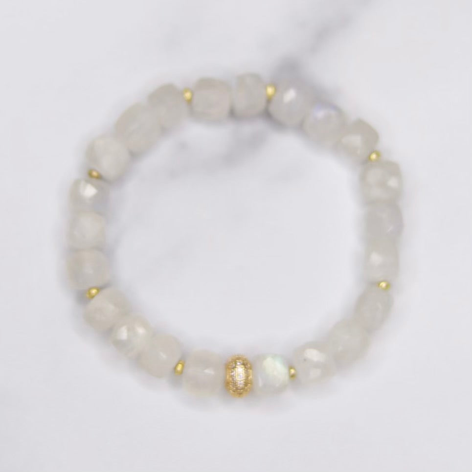 Moonstone Cube, Gold Swarovski Pave Bead and Gold Disc Stretch Bracelet  NEW
