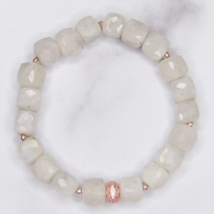 Moonstone Cube, Rose Gold Swarovski and Rose Gold Ball Stretch Bracelet  NEW