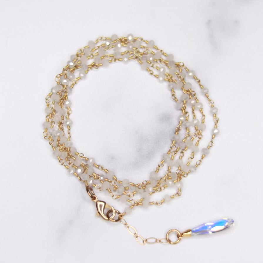 Moonstone Multi-Wrap Bracelet/Necklace Combo in Sterling Silver or Gold Filled  NEW
