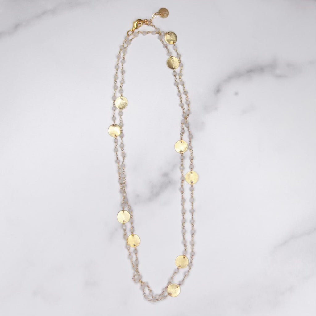 Moonstone & Brushed Disc Multi-Wrap Bracelet/Necklace Combo in Sterling Silver or Gold Filled  NEW