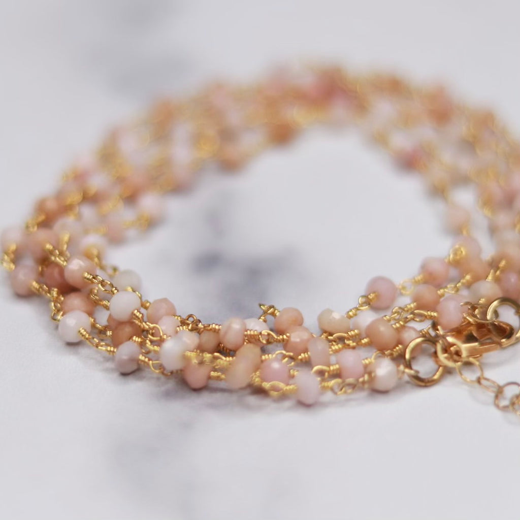 Pink Chalcedony Multi-Wrap Bracelet/Necklace Combo in Gold Filled  NEW