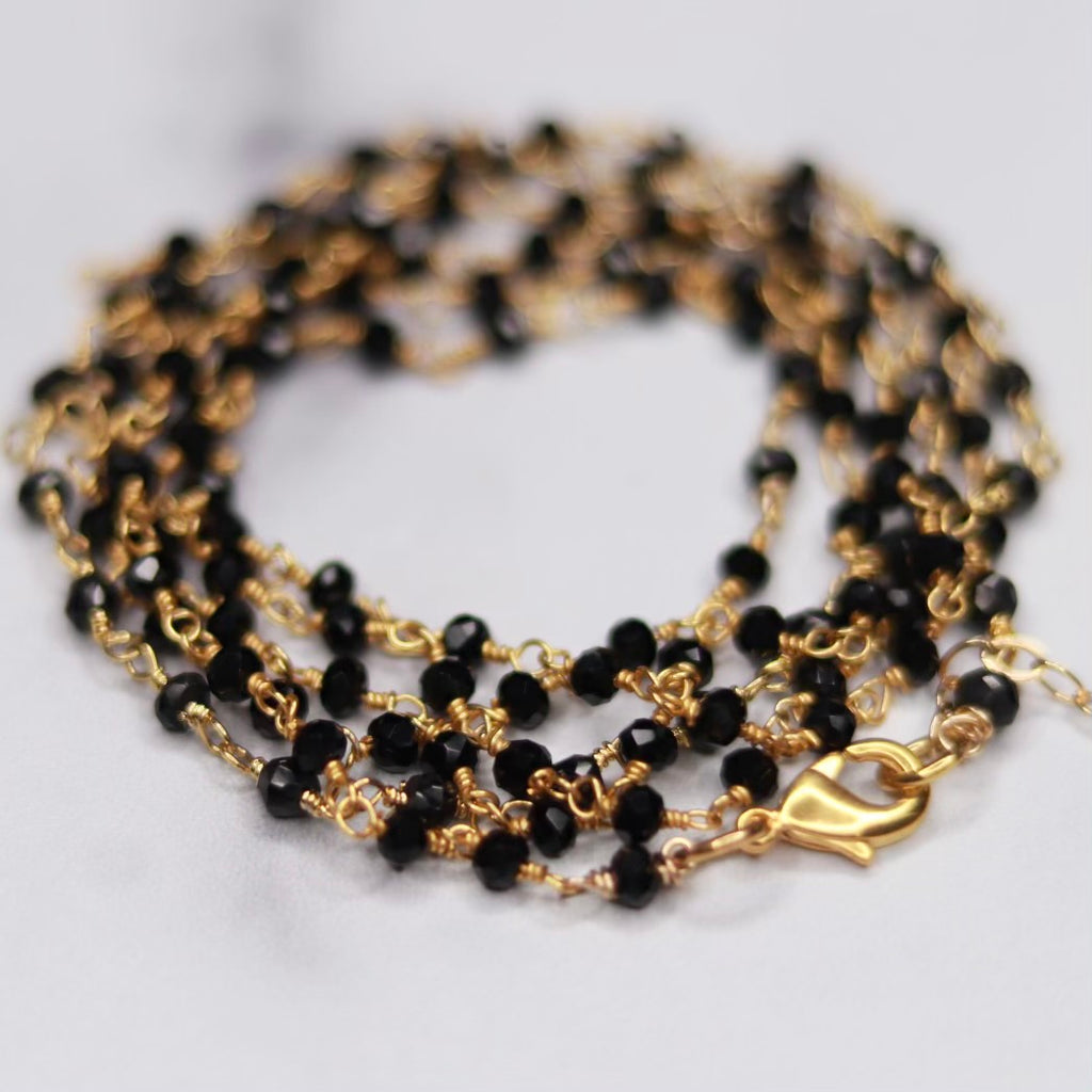 Black Onyx Multi-Wrap Bracelet/Necklace Combo in Sterling Silver or Gold Filled  NEW
