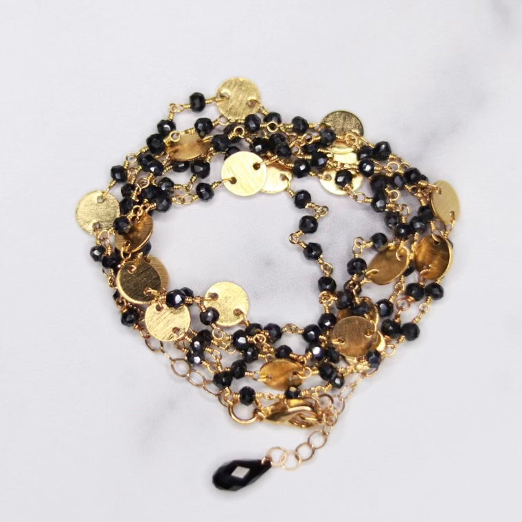 Black Onyx & Brushed Disc Multi-Wrap Bracelet/Necklace Combo in Sterling Silver or Gold Filled  NEW