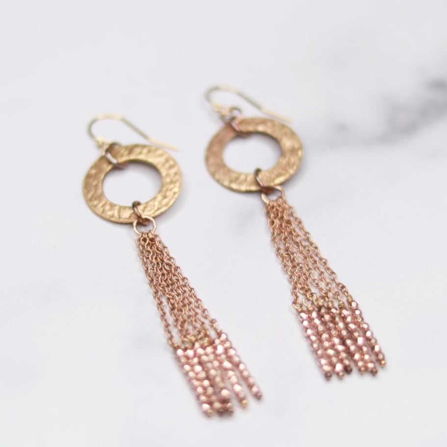 Gold Filled Hammered Ring with Chain and Rose Gold Bead Tassel Earrings   NEW