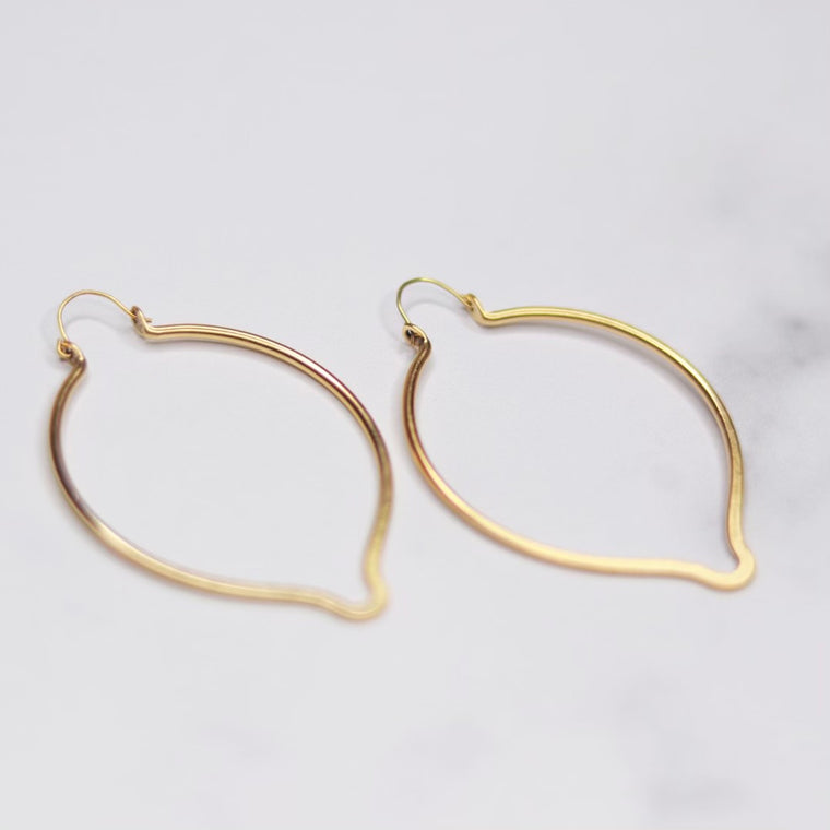 Oval Point Earrings in Antiqued Gold or Antiqued Silver NEW
