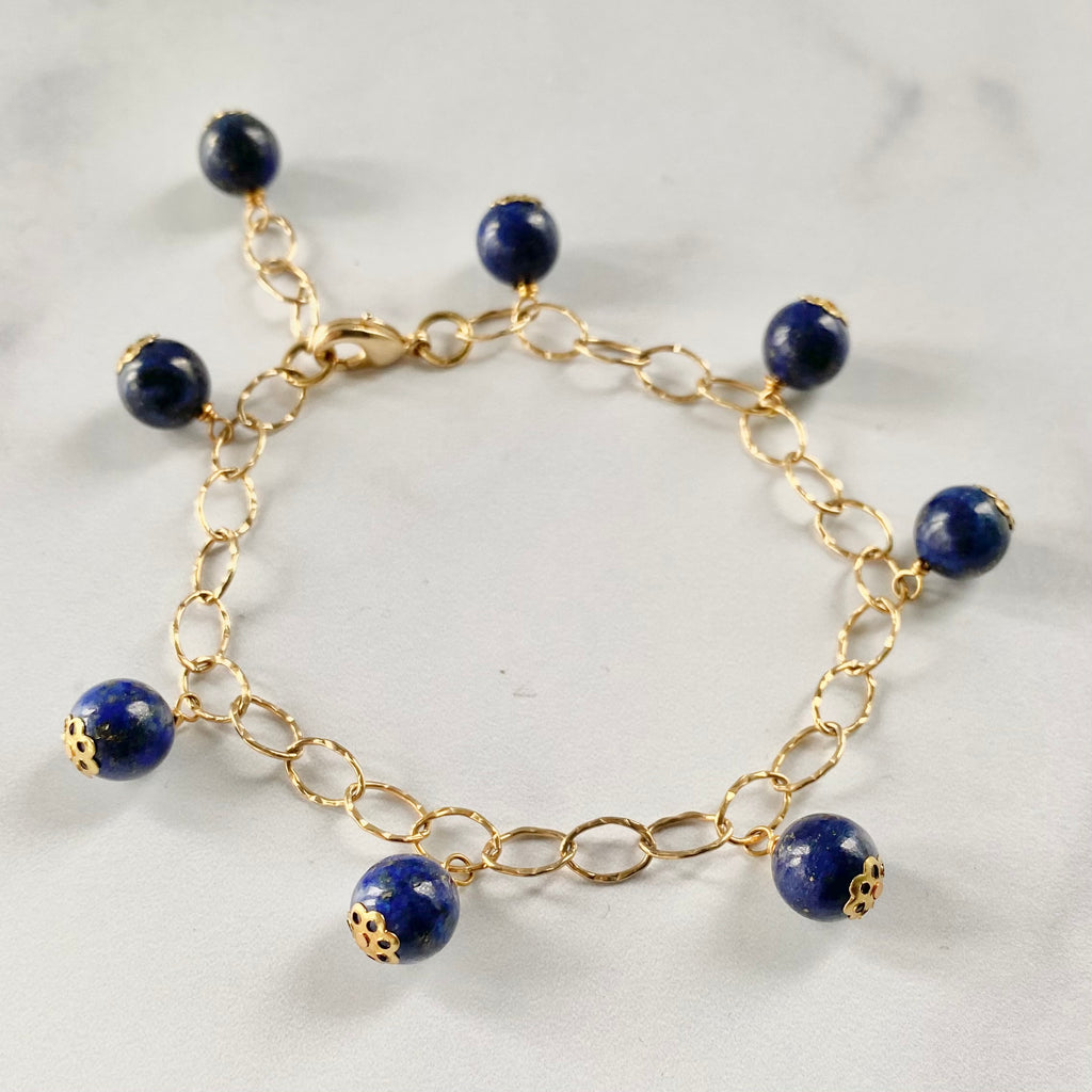 Round Blue Lapis Multi Drop Gold-Filled Bracelet