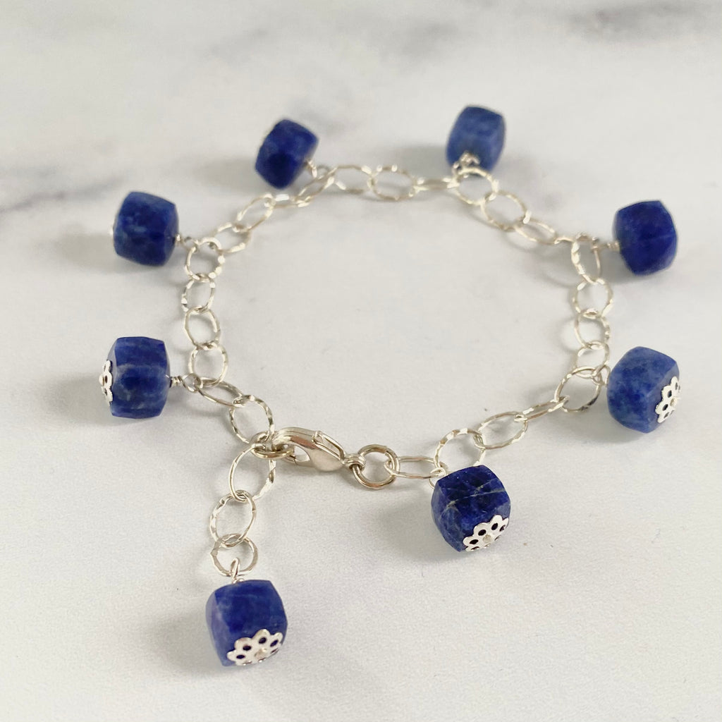 Blue Lapis Cube Multi Drop Sterling Silver Bracelet  NEW