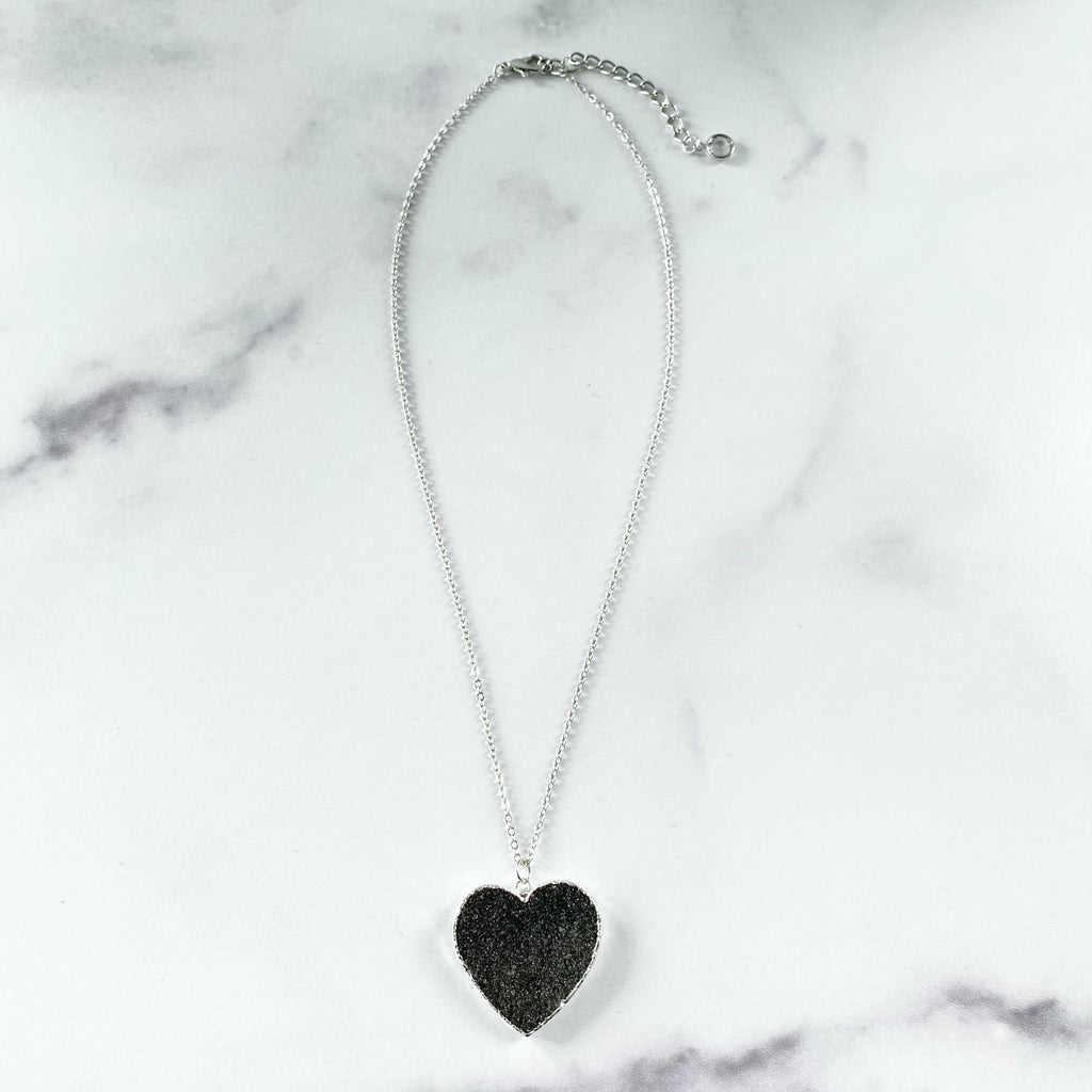 Dark Charcoal Heart Druzy Pendant on Sterling Silver Chain Necklace  NEW