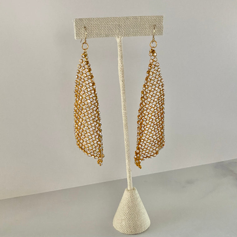 Drape Swarovski Crystal Dangle Earrings in Gold Filled or Sterling Silver  NEW