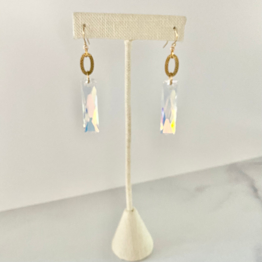 Etched Oval and Large Rectangle Swarovski Crystal Earrings   NEW
