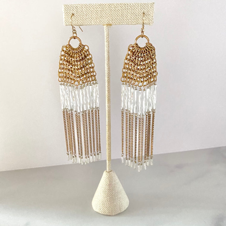 Long Drape Chainmaille Crystal Dangle Earrings in Gold Filled or Sterling Silver  NEW
