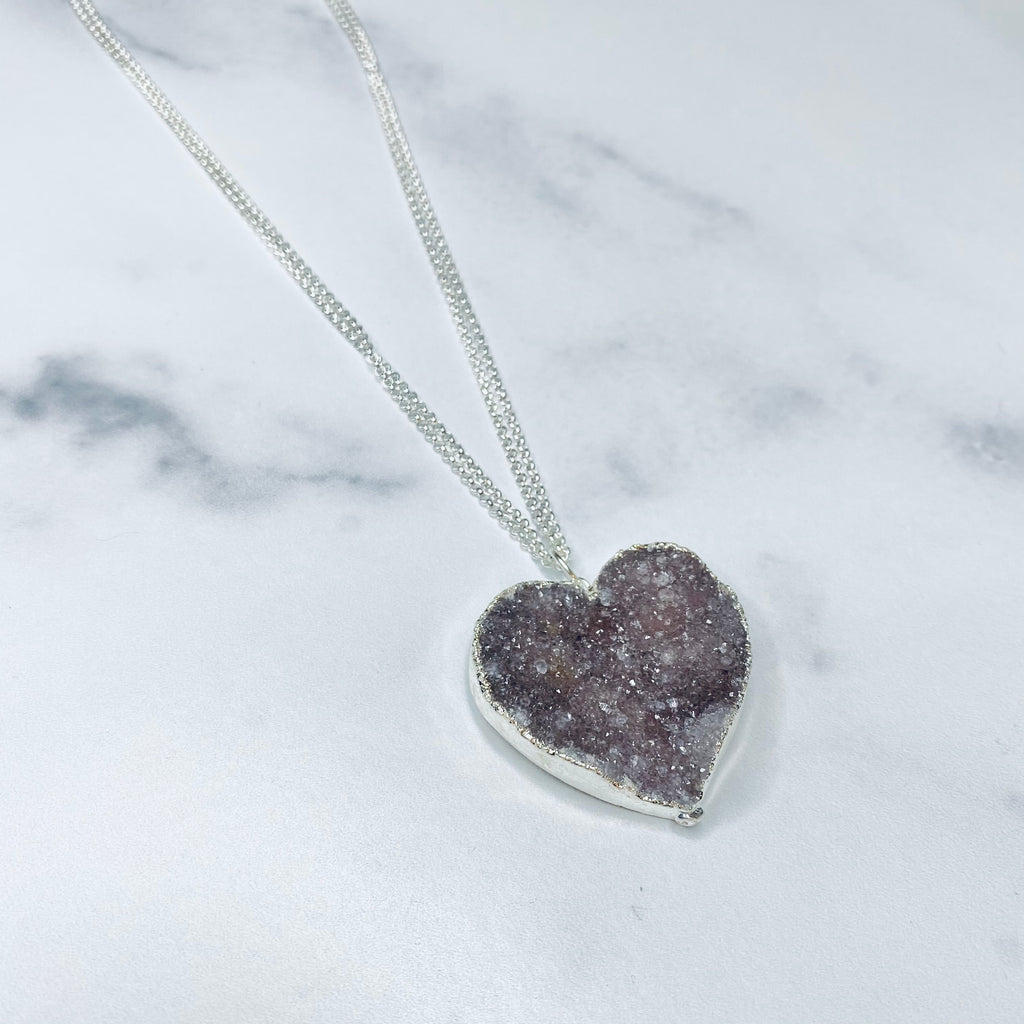 Medium Gray/Lavendar Heart Druzy Pendant on Sterling Silver Long Chain Necklace  NEW