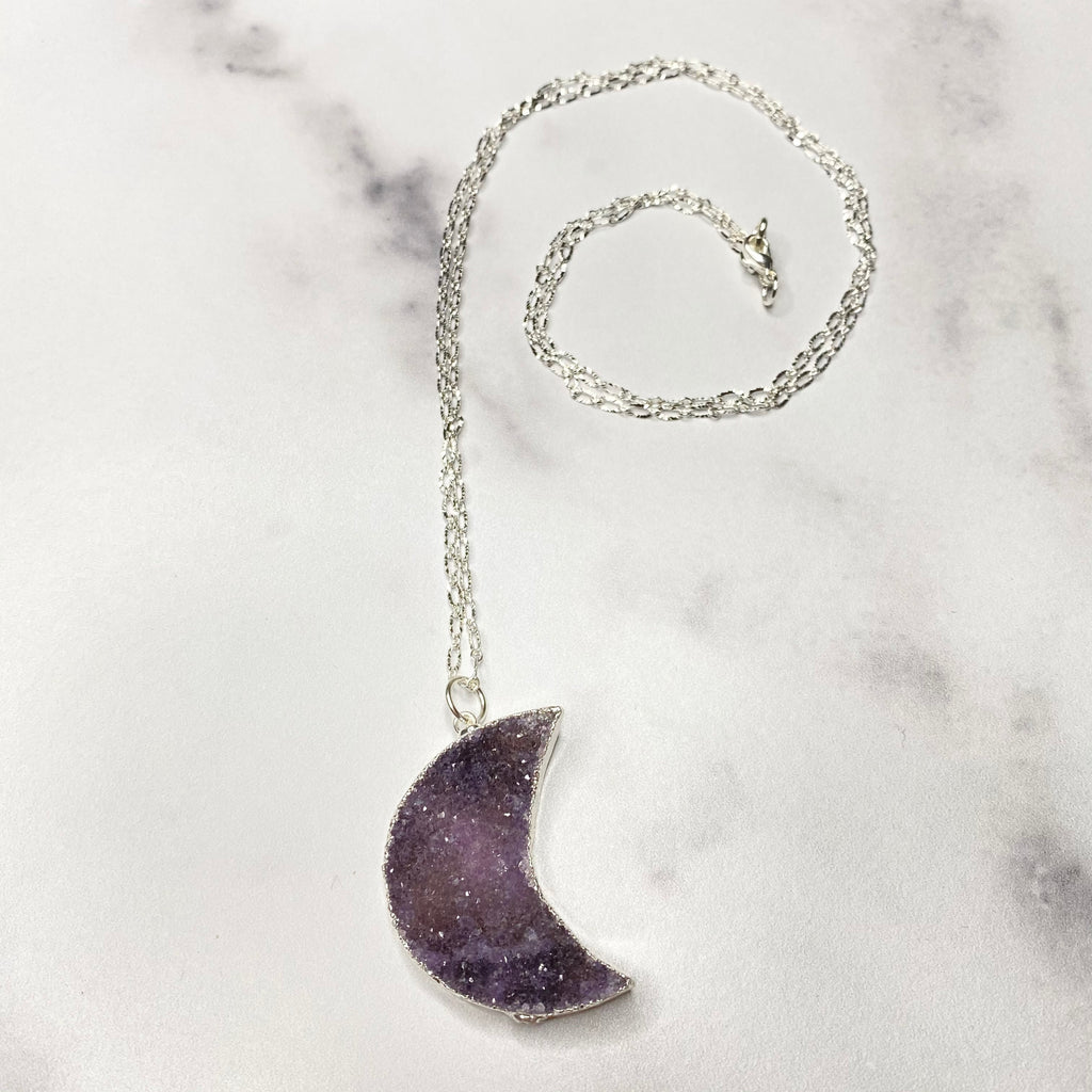 Purple Crescent Moon Druzy Pendant on Sterling Silver Chain Necklace  NEW