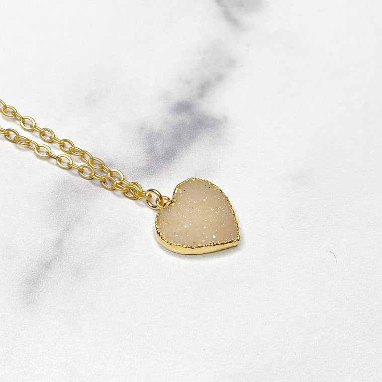 Cream Heart Druzy Pendant in Gold-Filled Necklace   (small) NEW