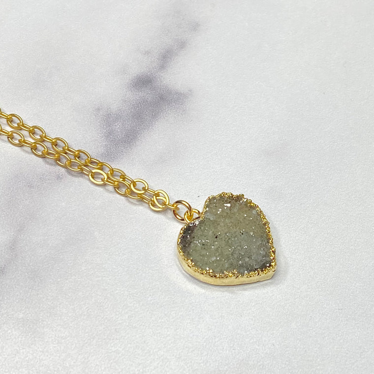 Gray Heart Druzy Pendant in Gold-Filled Necklace (small)   NEW