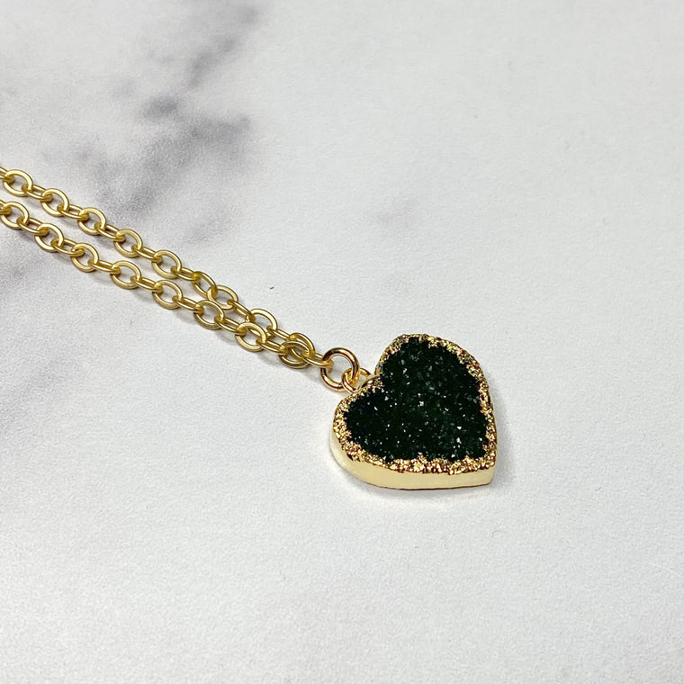 Black Heart Druzy Pendant in Gold-Filled Necklace (small)   NEW