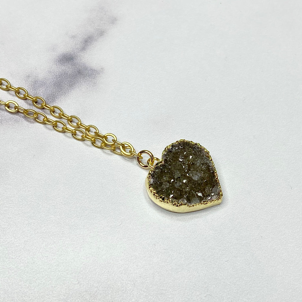 Charcoal Heart Druzy Pendant in Gold-Filled Necklace  (small)  NEW