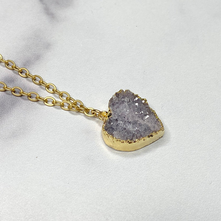 Lavendar Heart Druzy Pendant in Gold-Filled Necklace (small)   NEW