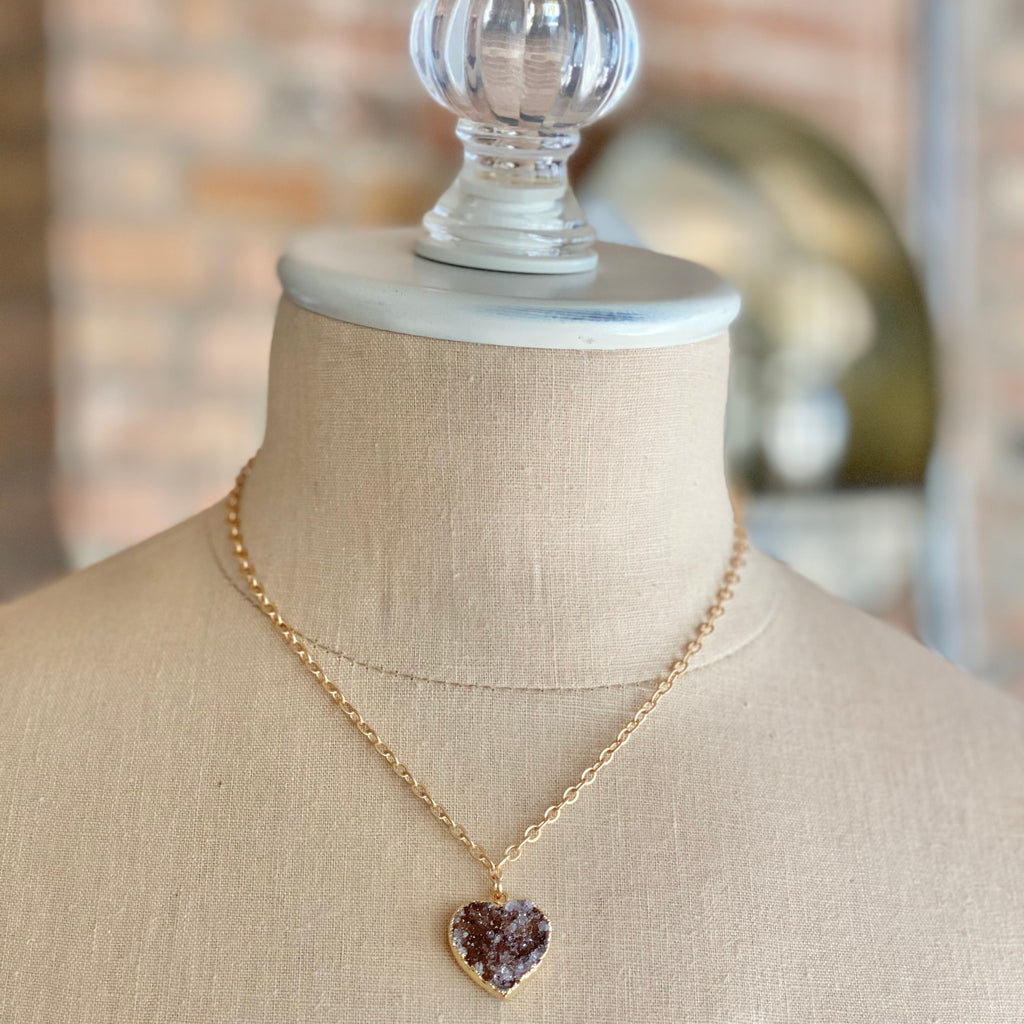 Chocolate Brown Heart Druzy Pendant in Gold-Filled Necklace (small)   NEW