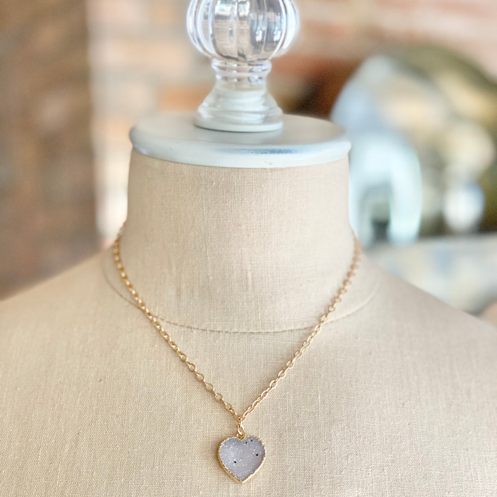 White Heart Druzy Pendant in Gold-Filled Necklace  (small)   NEW