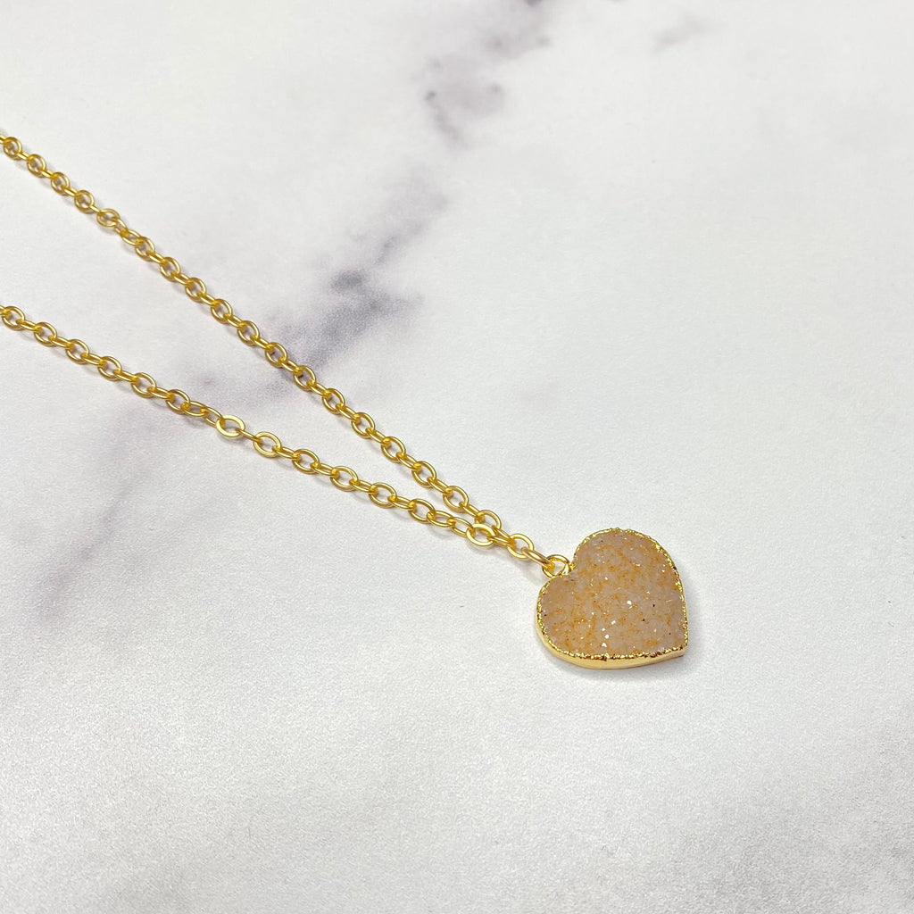 Soft Rose Heart Druzy Pendant in Gold-Filled Necklace (small)   NEW