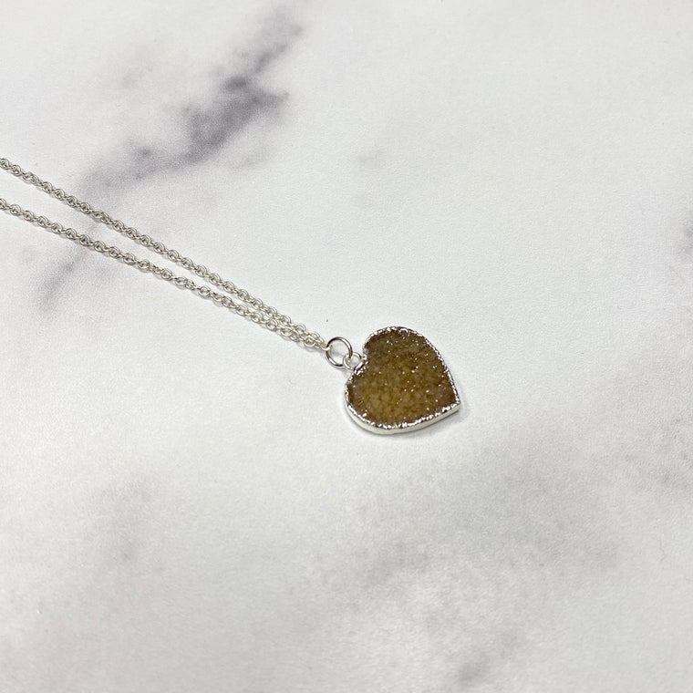Taupe Heart Druzy Pendant in Sterling Silver Necklace  (small)  NEW