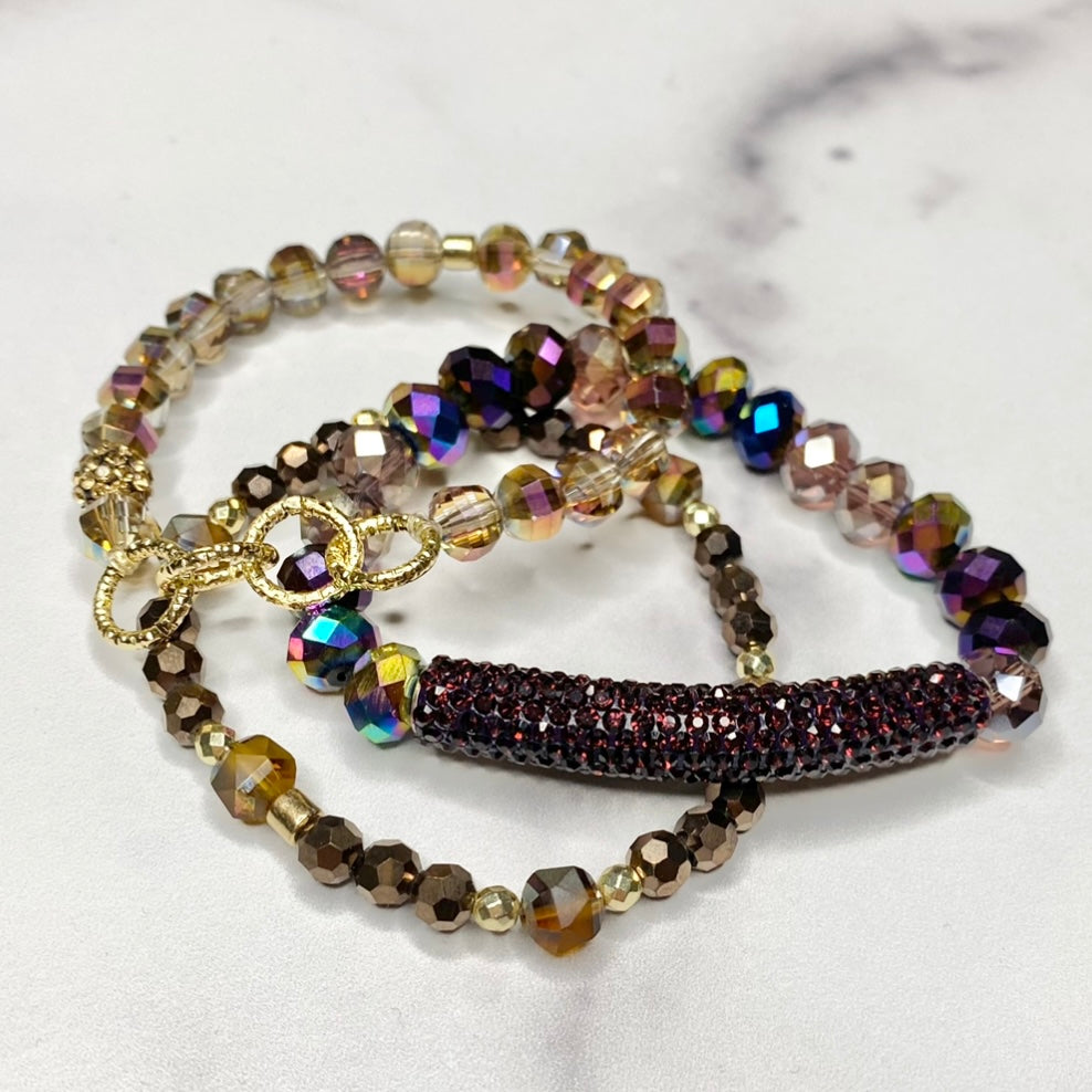 Plum Sparkle Stretch Bracelet Bundle  NEW