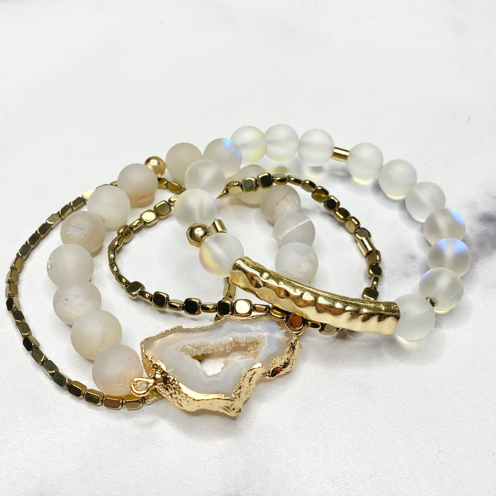 White & Bronze Druzy Geode Stretch Bracelet Bundle  NEW