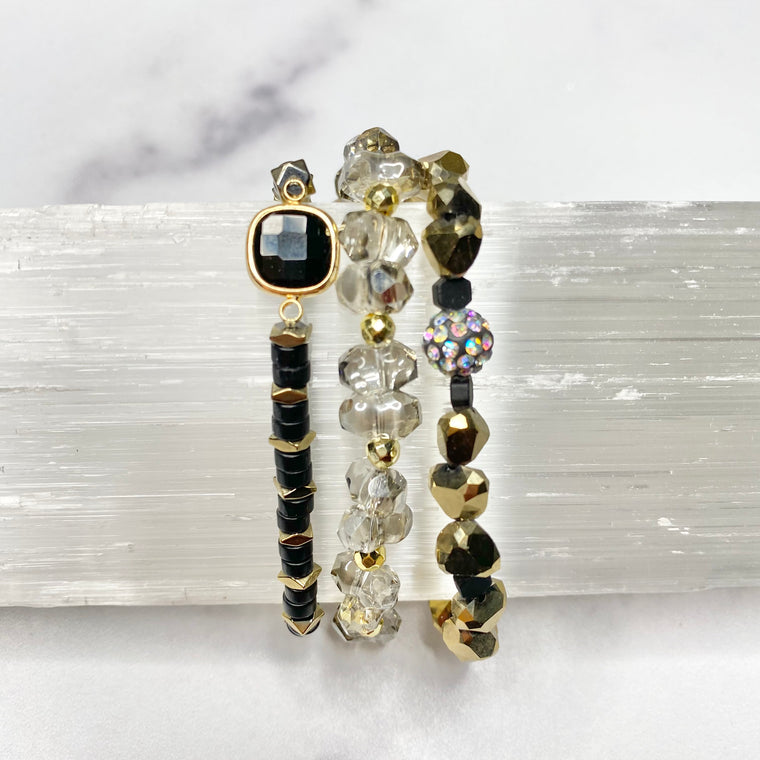 Black and Gold Sparkle Stretch Bracelet Bundle  NEW