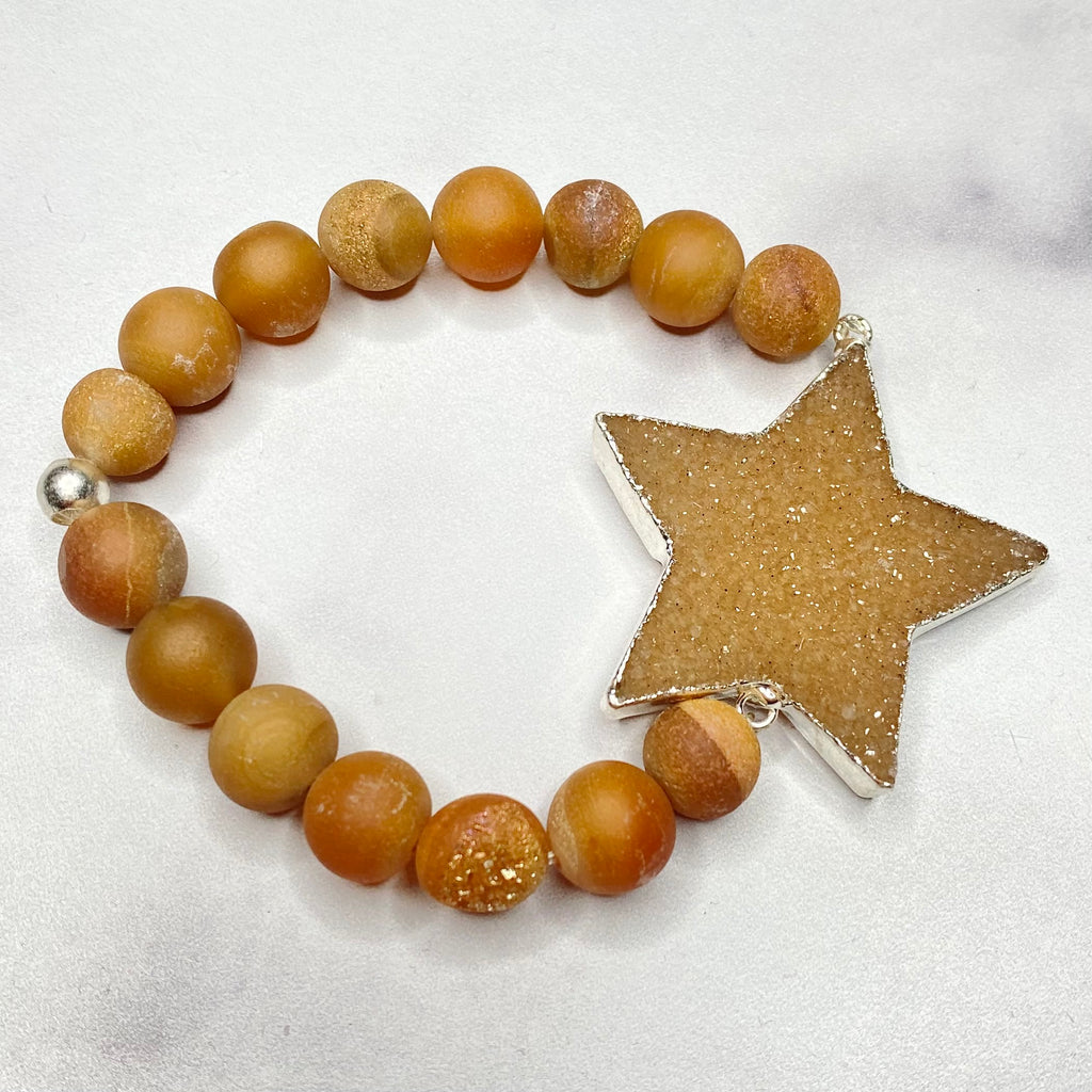 Chunky Carmel Star Druzy and Honed Druzy Stretch Bracelet NEW