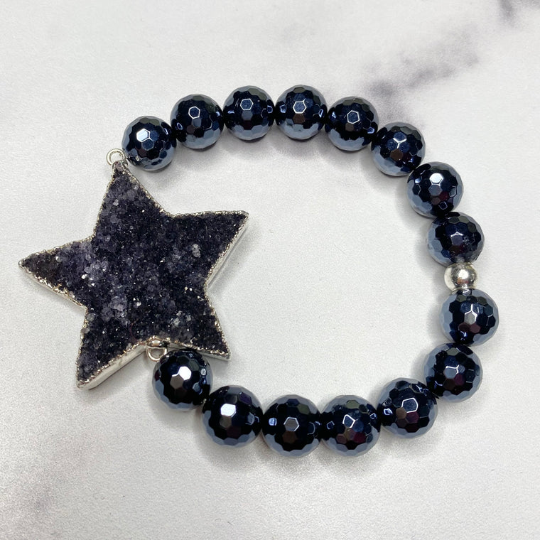 Chunky Black Star Druzy and Black Onyx Stretch Bracelet  NEW