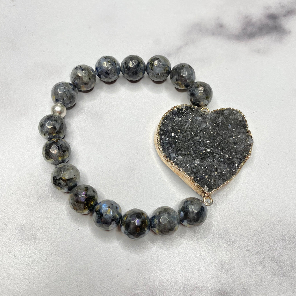 Chunky Charcoal Heart Druzy and Gray Labradorite Stretch Bracelet  NEW