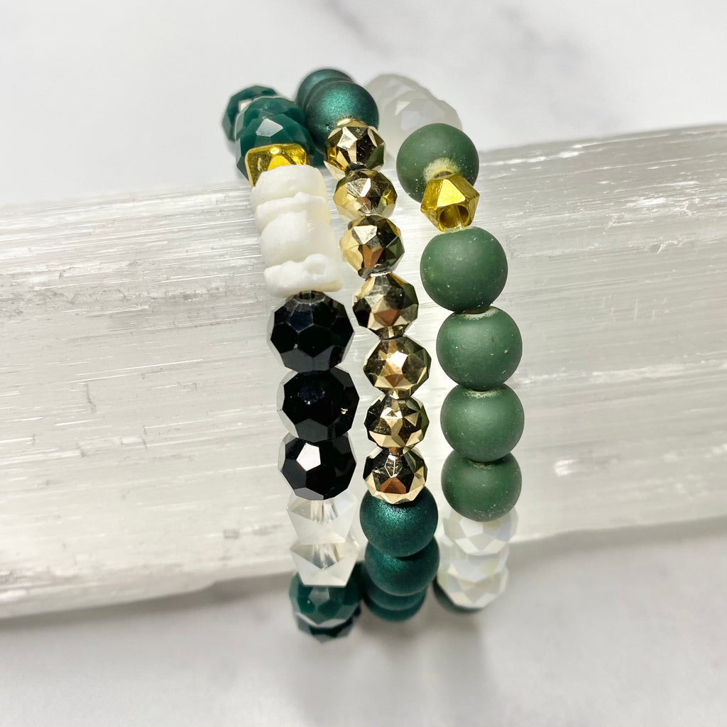 Green & White with Black and Gold Stretch Bracelet Bundle  NEW