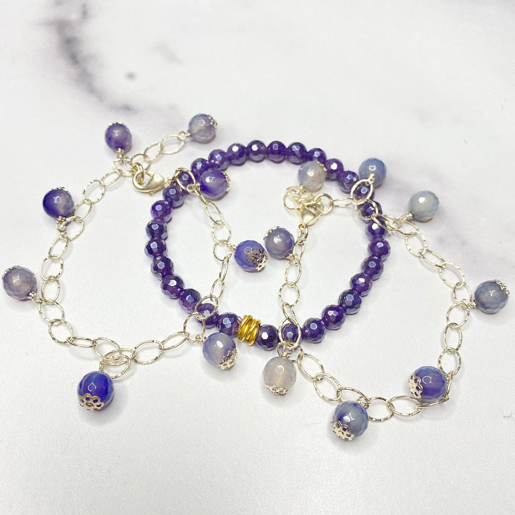 Purple Iolite Drop & Stretch Bracelet Bundle  NEW
