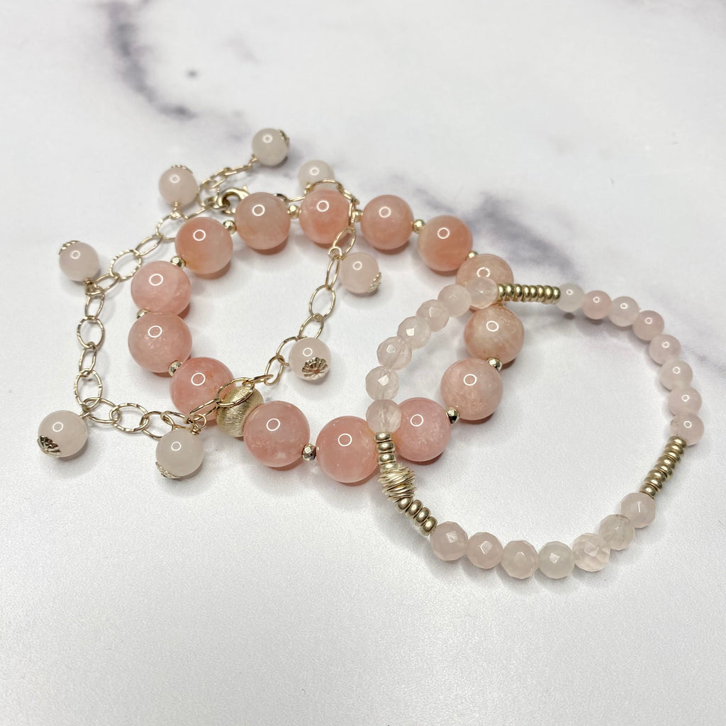 Rose Quartz and Silver Stretch Bracelet Bundle  NEW