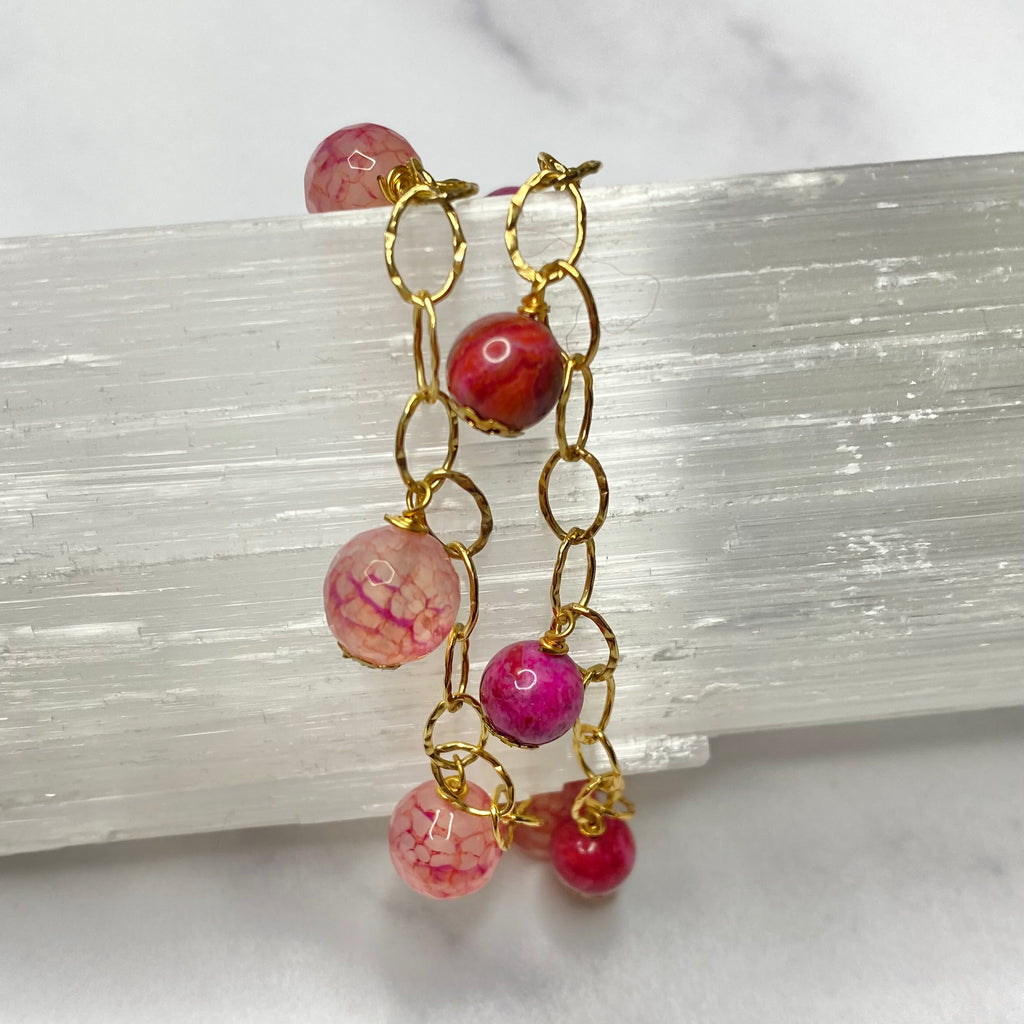 Pink Jasper and Lace Gold Stretch Bracelet Bundle  NEW