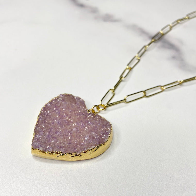 Pink/Lavendar Heart Druzy Pendant on Gold-Filled PaperClip Chain Necklace  NEW