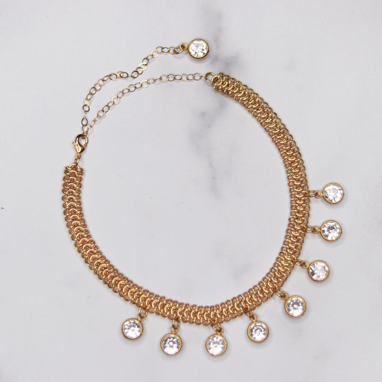 Gold Chainmaille Choker with Swarovski Crystal Drops Necklace  NEW