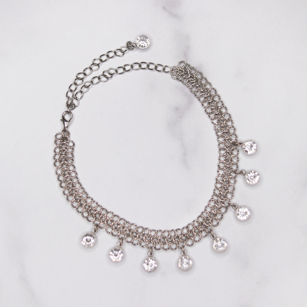 Silver Chainmaille Choker with Swarovski Crystal Drops Necklace  NEW