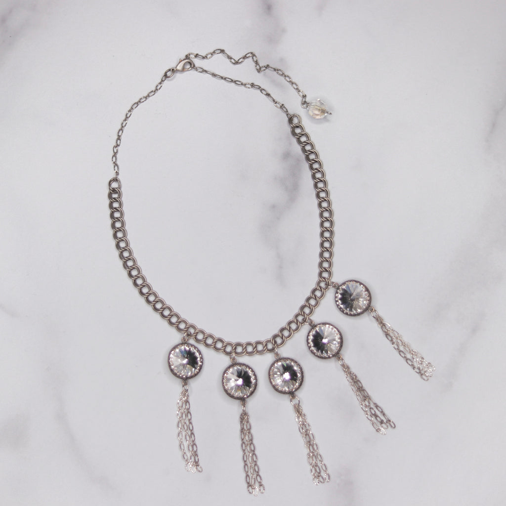 Antique Silver Double Loop Chain Choker w/Swarovski Drops and Chain Tassels  NEW