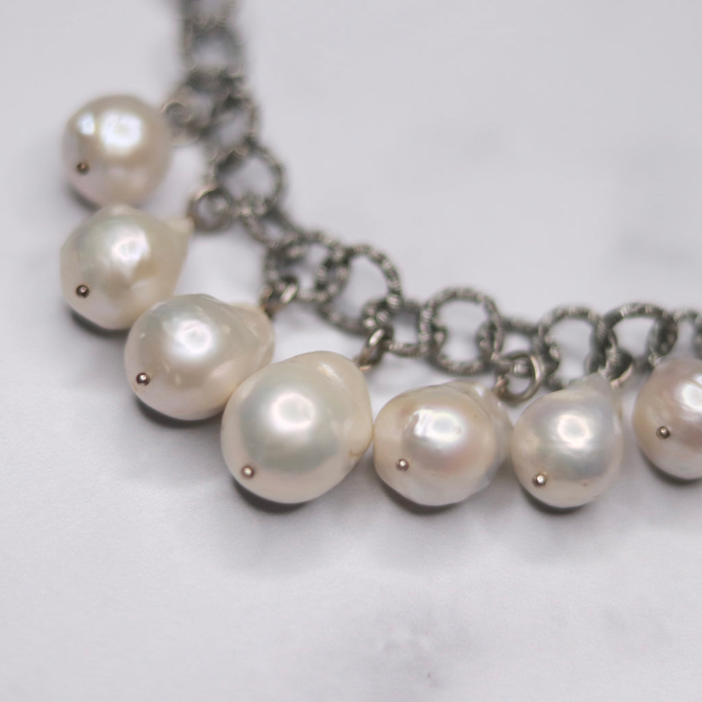 Silver Multi-Drop White Baroque Pearl Chunky Necklace  NEW