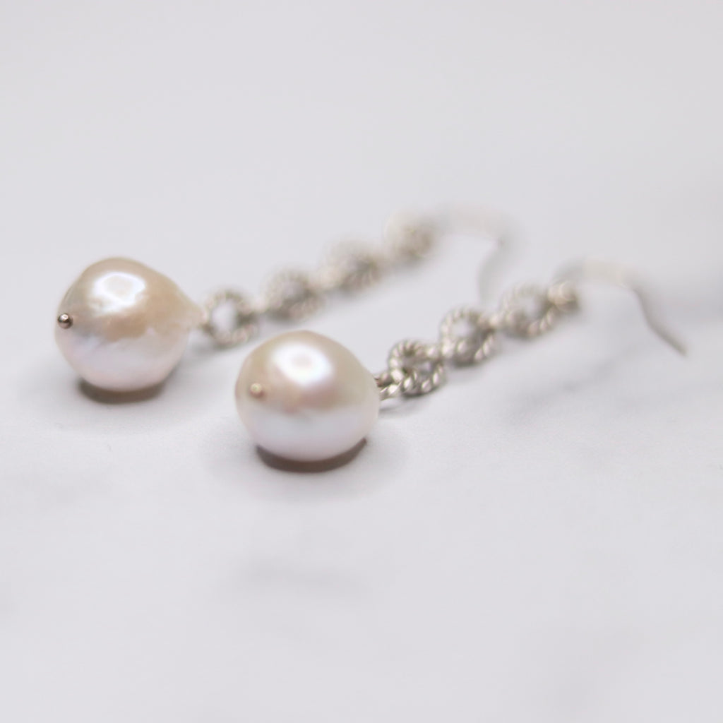 Silver Chunky White Baroque Pearl Long Chain Drop Earrings  NEW