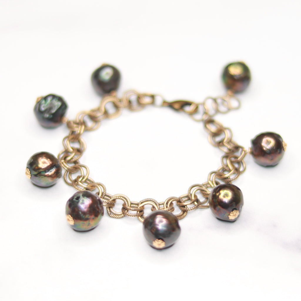 Large Rainbow Baroque Pearl Drop Bracelet  NEW