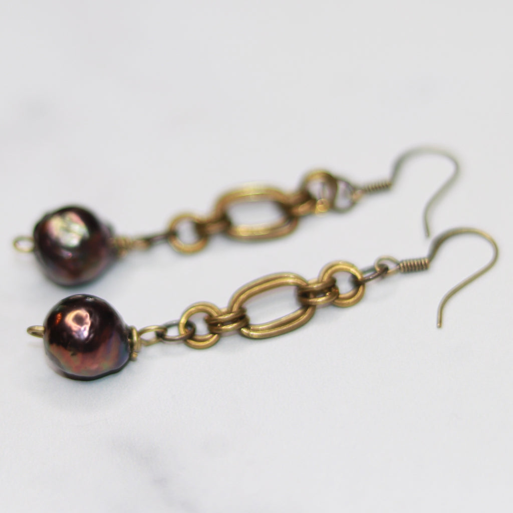 Rainbow Baroque Pearl Drop Chainmaille Earrings  NEW