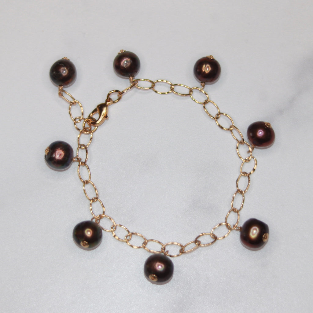 Gold Filled Oval Etched Multi Drop Dark Burgandy Baroque Pearl Drop Bracelet  NEW