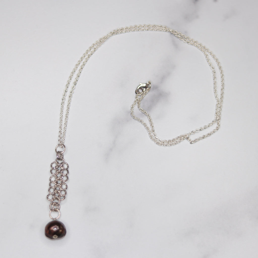 Brushed Silver Chainmaille with Dark Burgandy Baroque Pearl Long Pendant Necklace NEW