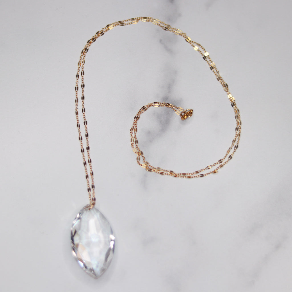 Gold Filled Clear Marquis Swarovski Crystal Long Pendant Necklace  NEW