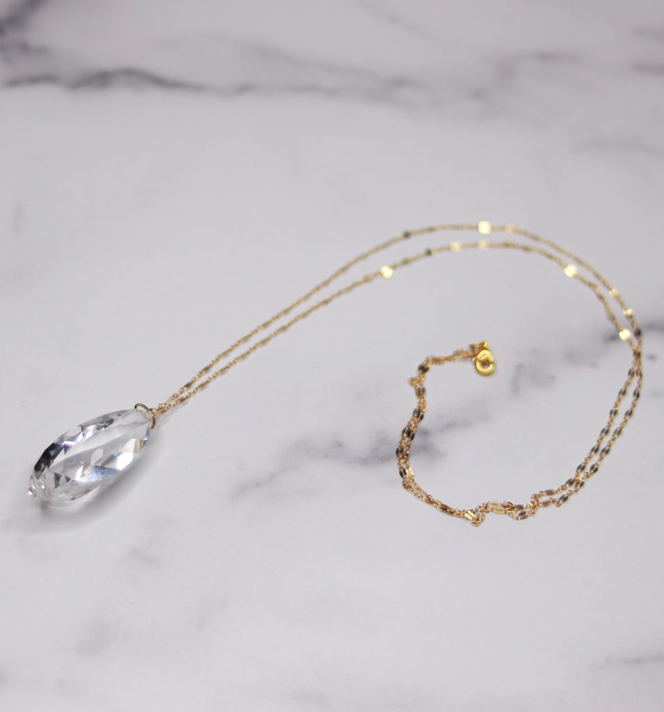 Gold Filled Clear Swivel Marquis Swarovski Crystal Pendant Necklace  NEW